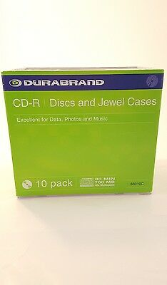 DURABRAND CD-R Discs and Jewel Case set of 10  New exelent for data photos music