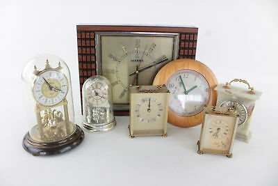 7x Vintage/Retro Quartz Mantle/Wall Carriage Clocks inc 1970's Telux - Untested