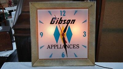 Vintage Gibson Appliance Advertising Lighted Clock Sign WORKS