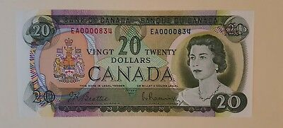 Uncirculated 1969 W/ paperwork Bank of Canada $20, Low Serial Number EA0000834