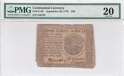 PMG Sept 1778 $20 Twenty Dollars Continental Currency PMG Very Fine 20 FR#CC-82
