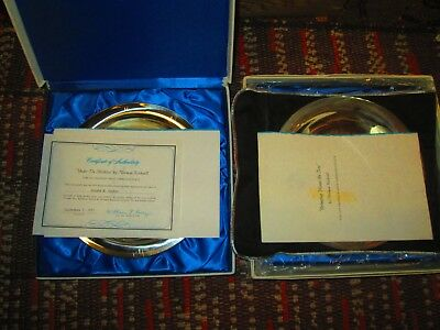 2 Sterling Silver Norman Rockwell Franklin Mint Plates