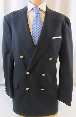 Mens Brooks Brothers Navy Double Breasted Gold button Blazer, Sport Coat 42 L