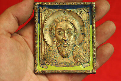 "19c ANTIQUE OLD RUSSIAN BRASS ENAMEL BRONZE ICON ""The Saviour Not Made by Hands"""