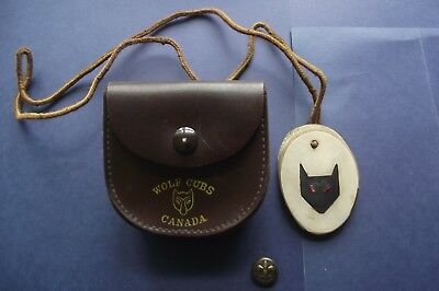 Vintage Wolf Cubs Canada Belt Pouch, Wolf Cub Necklace and Brass Scout Button
