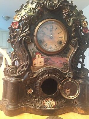 Antique Ornate 19thC Victorian Cast Iron Figural Shelf Clock Polychrome Painted