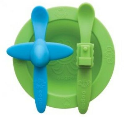 New In Box Oogaa Baby Toddler Mealtime Set Easy Clean Green + Blue