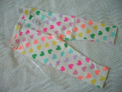 Bnwt White Stretch Leggings With Multi Coloured Hearts Pattern 18-24 Months