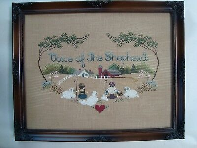 """Beautiful Framed Cross Stitch ~ """"Voice Of The Shepherd"""" Religious Theme"""