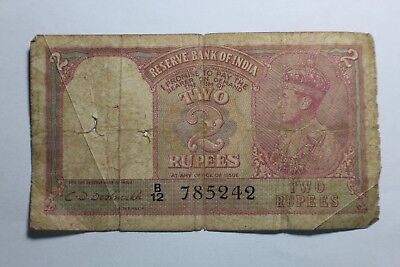 Government of India Two 2 Rupee Bank Note King George