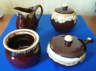 LOT of VINTAGE McCOY BROWN DRIP GLAZE SUGAR & CREAMER with LID - BEAN POT - DISH