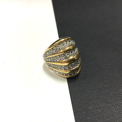 Dazzling Vintage signed 18K HGE Wide DOMED Faux DIAMOND Band Ring 8.25 DD185d