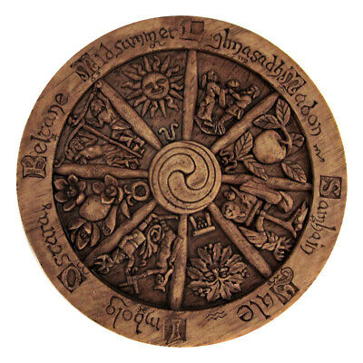 Small Wheel of the Year Wall Plaque - Wood Finish - Dryad Designs - Wicca Pagan
