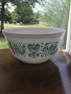 Vtg Pyrex Amish Cinderella Butterprint Bowl Casserole Turquoise On White 1.5 Qrt