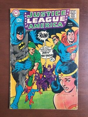Justice League of America #66 (1968) 6.0 FN DC Key Issue Comic Neal Adams Silver