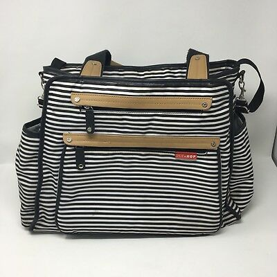 Skip Hop Grand Central Take-it-All Diaper Bag Black and White Stripe Pre-Owned