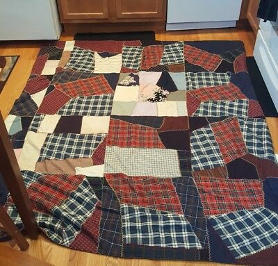 "Vintage 1930s Hand Sewn Heavy CRAZY QUILT, Nice backing; 64"" by 77"""