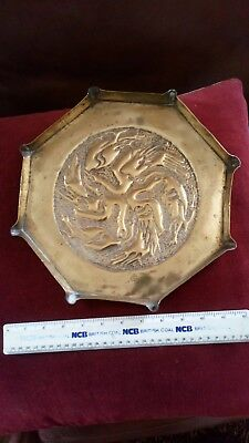 Arts and Crafts brass tray depicting intertwined birds