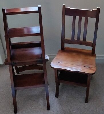 Pair of Hard Wood Metamorphic Library Chair Steps - Used but good condition