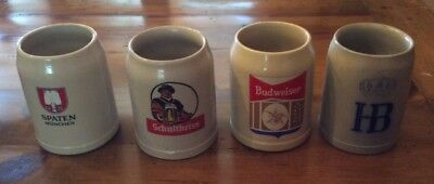 German Ceramic Beer Mugs-0.5L-Set Of 4 W/o Tops-Spaten, Bud,  Hb, Schultheiss