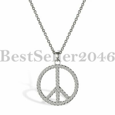 Womens 925 Sterling Silver Cubic Zirconia CZ Peace Sign Pendant Necklace 18""