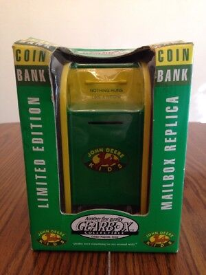 "JOHN DEERE KIDS ""LIMITED EDITION"" MAILBOX COIN BANK - 1998 Gearbox New In Box!"