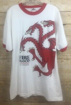 Game Of Thrones Fire and Blood Targaryen White Red  Large T-Shirt TV Series t