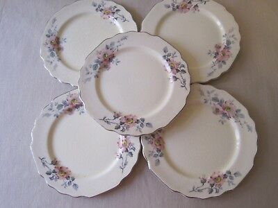"W S George Lido Canarytone Blossoms 6 3/4"" bread and butter Plates Platinum 5 pc"