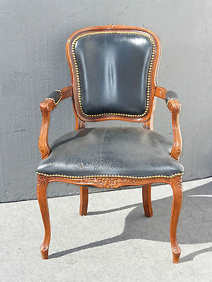 Vintage French Provincial Black Leather ARM CHAIR w Decorative Nails