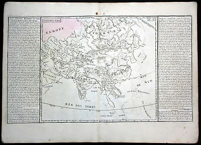 ca 1780 Asia Asien lake China Korea Japan map Clouet antique print Kupferstich
