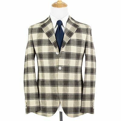 NWT Boglioli Dover Cream Brown Cotton Linen Plaid Unstructured 3Btn Jacket 38R