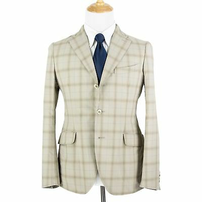 NWT Boglioli Tan Brown Cotton Plaid Dual Vents Unstructured 3/2 Jacket 38R
