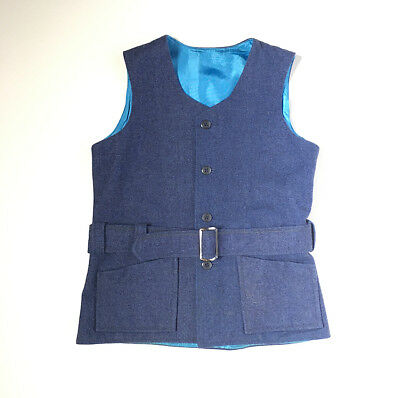 60s Mod Wool Steel Blue Gray Belted Fitted Suit Vest Boys 7 8 9 FREE SHIP