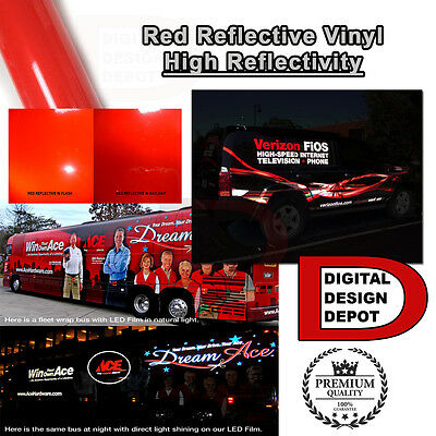 "*Red Reflective Vinyl Adhesive Cutter Sign Hight Reflectivity 24"" x 1 ft"