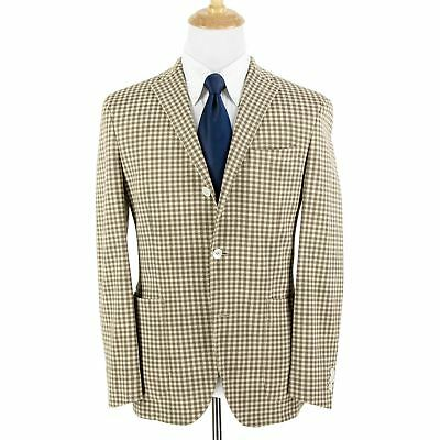NWT Boglioli Dover Brown Cream Cotton Gun Check Unstructured MOP 3Btn Jacket 40R