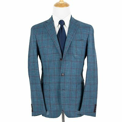 NWT Loro Piana Andorra Blue Silk Linen Slubby Windowpane Unstructured Jacket 44R