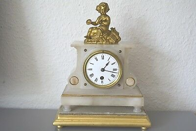 Victorian mantle clock. French movement. White marble. Running.