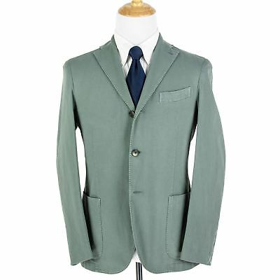 NWT $1025 Boglioli Sage Green Cotton Washed Hopsack Unstructured 3/2 Jacket 40R