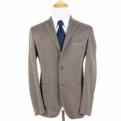 NWT $1200 Boglioli Taupe Blue Honeycomb Cotton Linen Silk Unstructure 3/2 Jacket