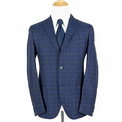 NWT $1575 Boglioli Azure Blue Wool Silk Linen Plaid Unstructured 2Btn Jacket 42R