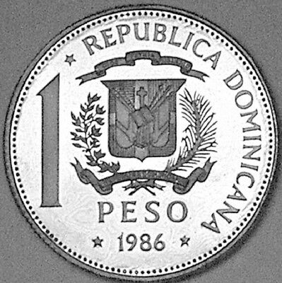 Dominican Republic 1986 1 Peso Proof     ONLY 50 PIECES MINTED
