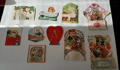 LOT OF 10 ANTIQUE VINTAGE VALENTINES DAY CARDS FOLDED USED 1930s