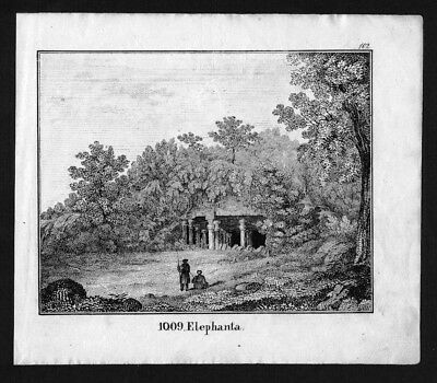1830 - Elephanta island India Indien Lithographie Lithograph