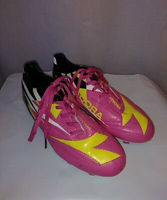 e974afed99 YOUTH BIG GIRLS Diadora Verona 5 Soccer Shoes Cleats Pink Yellow EXCELLENT  Sb#9
