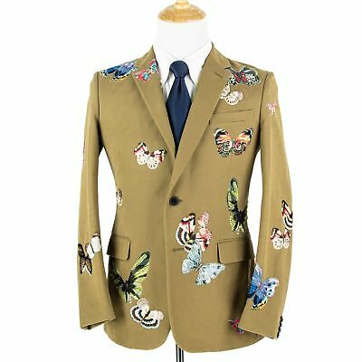 NWT Valentino Tan Butterfly Print Cotton Twill 2Btn Jacket 38R CURRENT