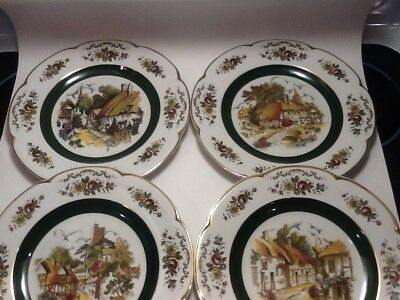 4 Different Vintage Ascot Service Plates By Wood & Sons England 10 1/2 Plate
