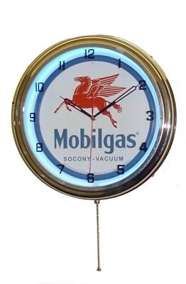 MOBIL GAS/ MOBILGAS & OIL NEON WALL CLOCK ADVERTISING!! Classic Vintage Pegasus!