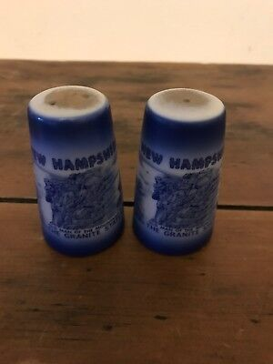 Old Man Of The Mountain Vintage Salt and Pepper Shakers NH Blue & White