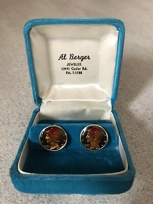 Pair Of Ben Silver Steel Mercury Dime Cufflinks