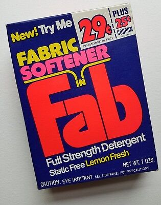 Vintage FAB Laundry Detergent Sample Size Soap Box New Old Stock 1970-1980s Prop